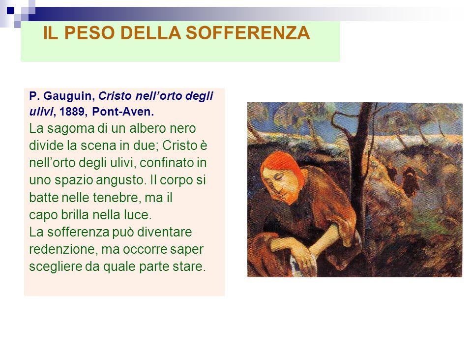 P. Gauguin, Cristo nellorto degli ulivi, 1889, Pont-Aven. La sagoma di un albero nero divide la scena in due; Cristo è nellorto degli ulivi, confinato