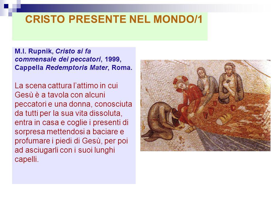 M.I. Rupnik, Cristo si fa commensale dei peccatori, 1999, Cappella Redemptoris Mater, Roma. La scena cattura lattimo in cui Gesù è a tavola con alcuni