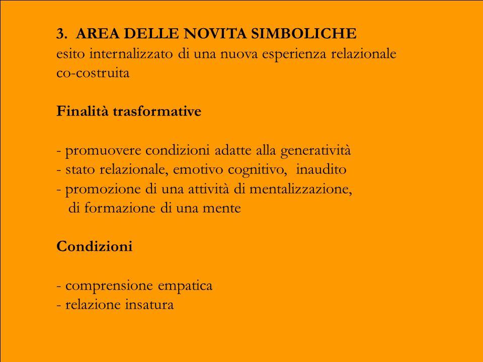 3. AREA DELLE NOVITA SIMBOLICHE esito internalizzato di una nuova esperienza relazionale co-costruita Finalità trasformative - promuovere condizioni a