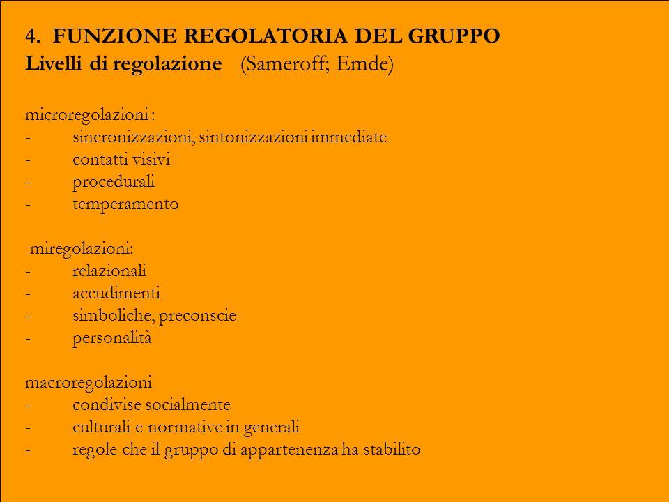 4. FUNZIONE REGOLATORIA DEL GRUPPO Livelli di regolazione (Sameroff; Emde) microregolazioni : - sincronizzazioni, sintonizzazioni immediate - contatti
