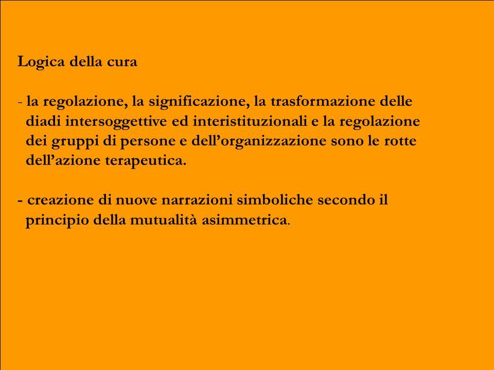 Logica della cura - la regolazione, la significazione, la trasformazione delle diadi intersoggettive ed interistituzionali e la regolazione dei gruppi