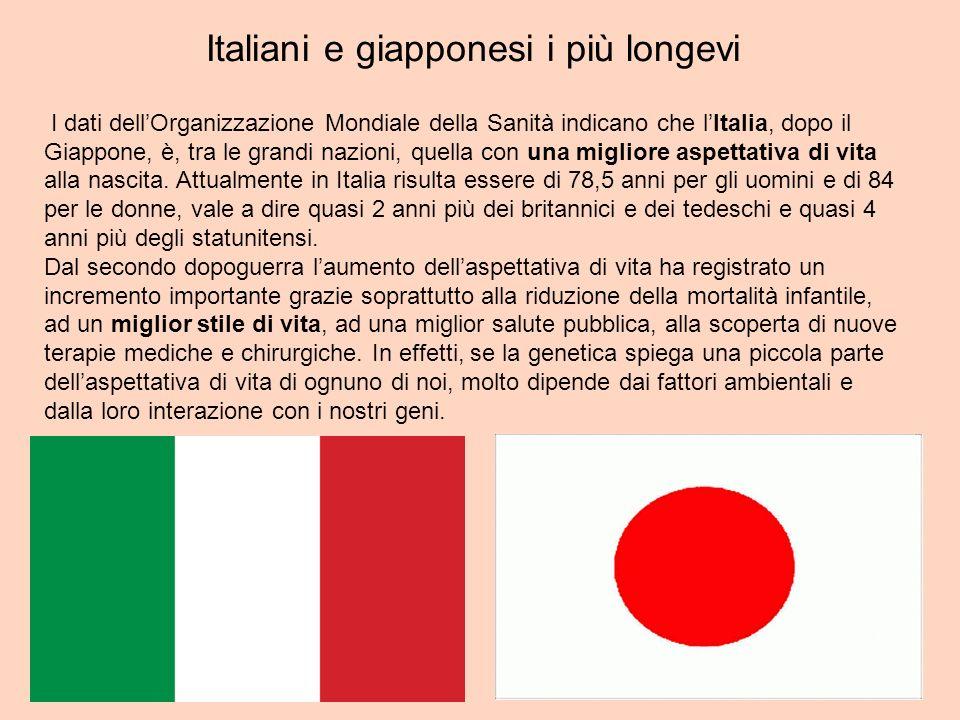 Italiani e giapponesi i più longevi I dati dellOrganizzazione Mondiale della Sanità indicano che lItalia, dopo il Giappone, è, tra le grandi nazioni,