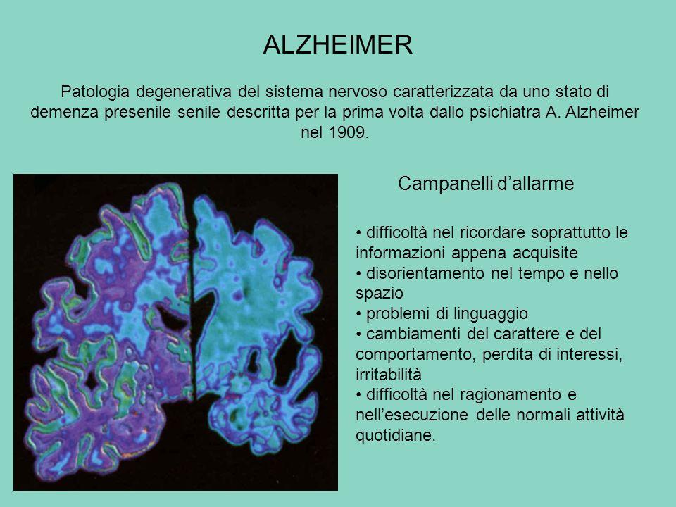 ALZHEIMER Campanelli dallarme difficoltà nel ricordare soprattutto le informazioni appena acquisite disorientamento nel tempo e nello spazio problemi