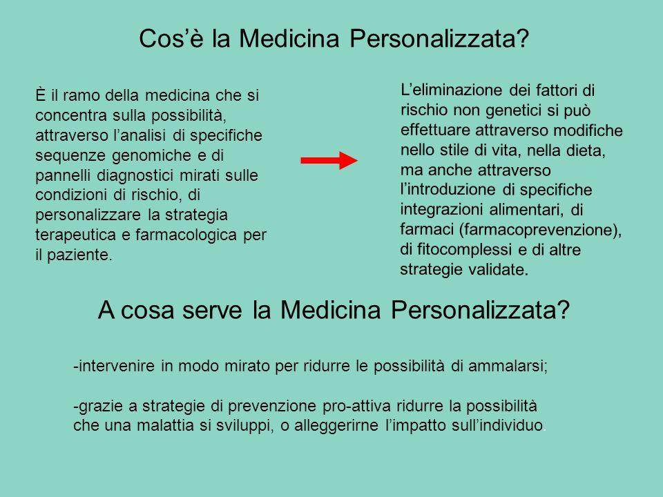 Cosè la Medicina Personalizzata? È il ramo della medicina che si concentra sulla possibilità, attraverso lanalisi di specifiche sequenze genomiche e d