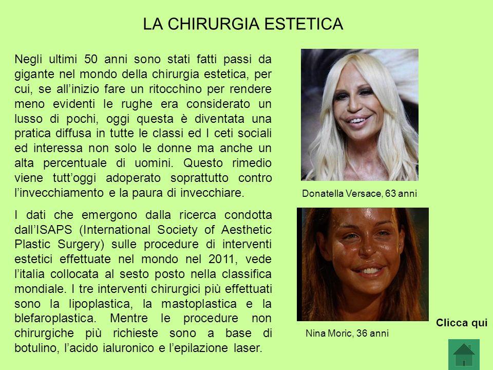 LA CHIRURGIA ESTETICA Donatella Versace, 63 anni Nina Moric, 36 anni Negli ultimi 50 anni sono stati fatti passi da gigante nel mondo della chirurgia