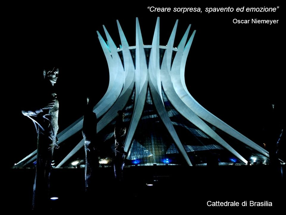 Oscar Niemeyer, architetto brasiliano di fama mondiale, il 3 Maggio del 1970 inaugura la Cattedrale di Brasilia, alletà di 62 anni.
