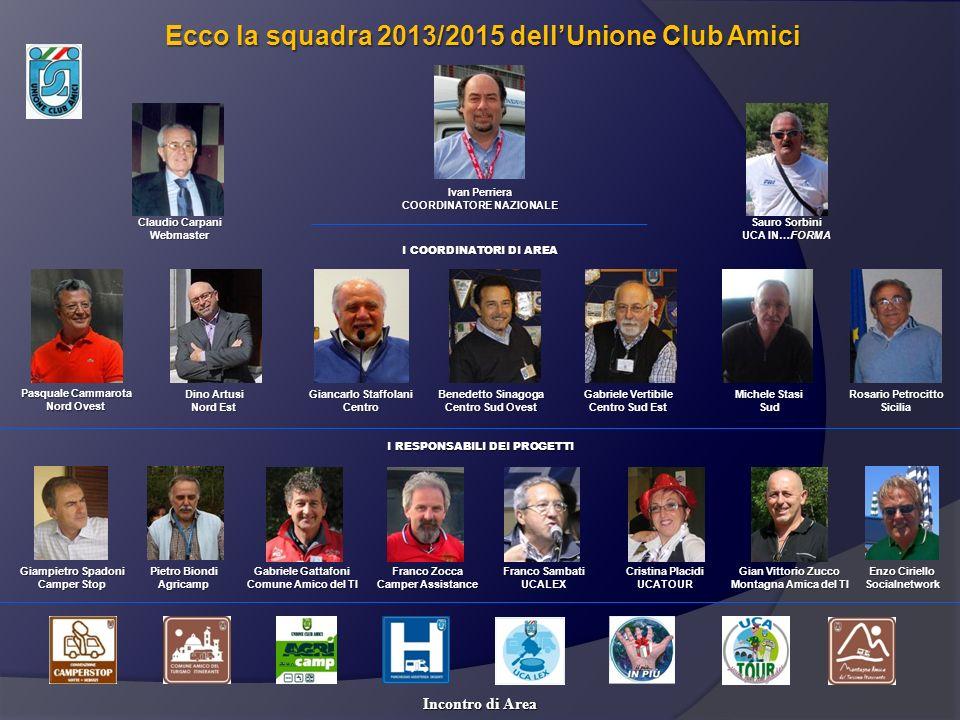Pasquale Cammarota Nord Ovest Ecco la squadra 2013/2015 dellUnione Club Amici Incontro di Area Dino Artusi Nord Est Giancarlo Staffolani Centro Benede