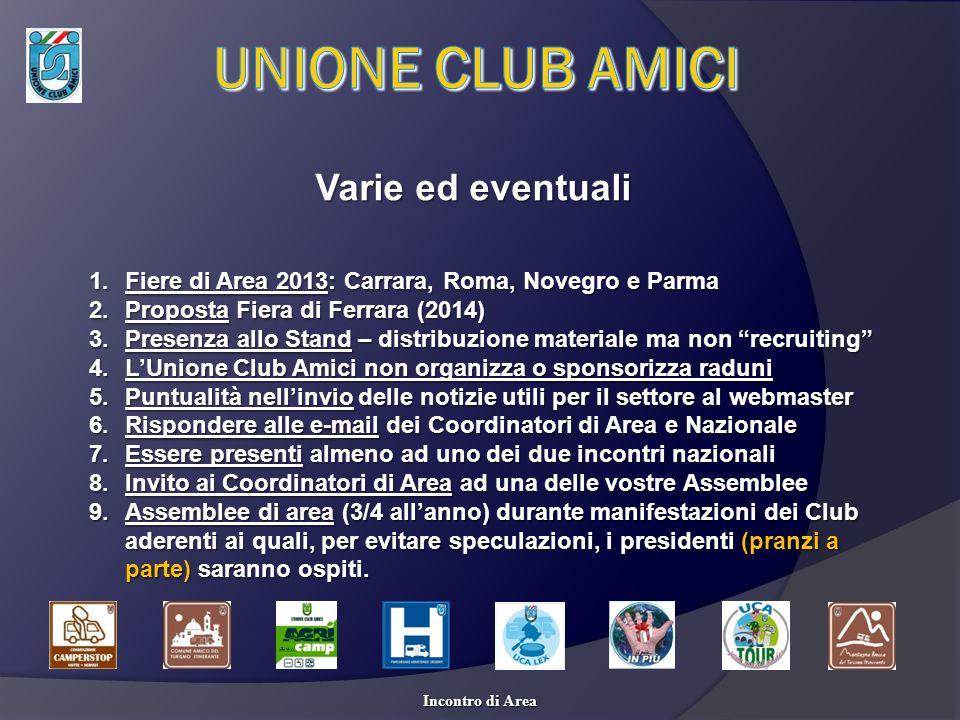 Varie ed eventuali 1.Fiere di Area 2013: Carrara, Roma, Novegro e Parma 2.Proposta Fiera di Ferrara (2014) 3.Presenza allo Stand – distribuzione mater