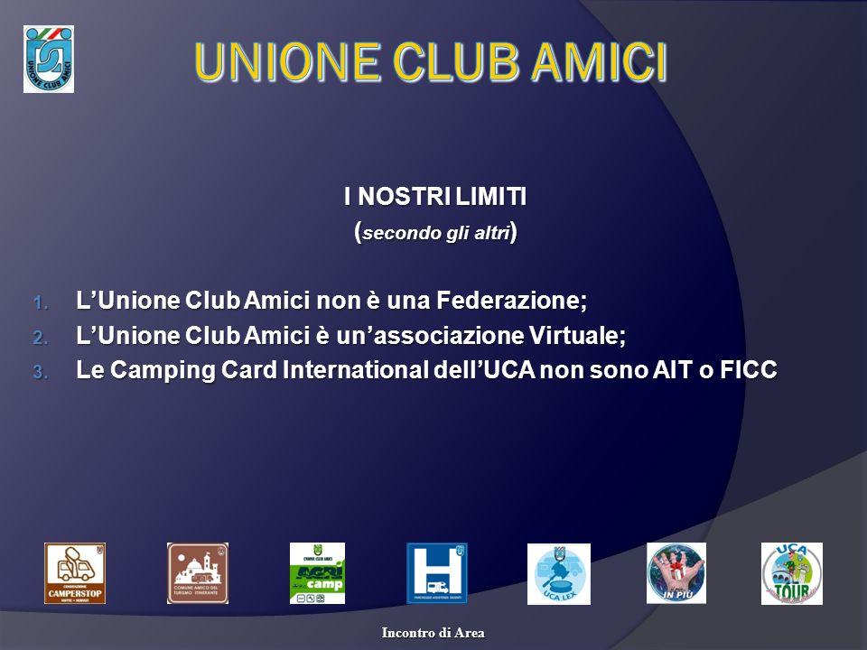 I NOSTRI LIMITI ( secondo gli altri ) 1. LUnione Club Amici non è una Federazione; 2. LUnione Club Amici è unassociazione Virtuale; 3. Le Camping Card
