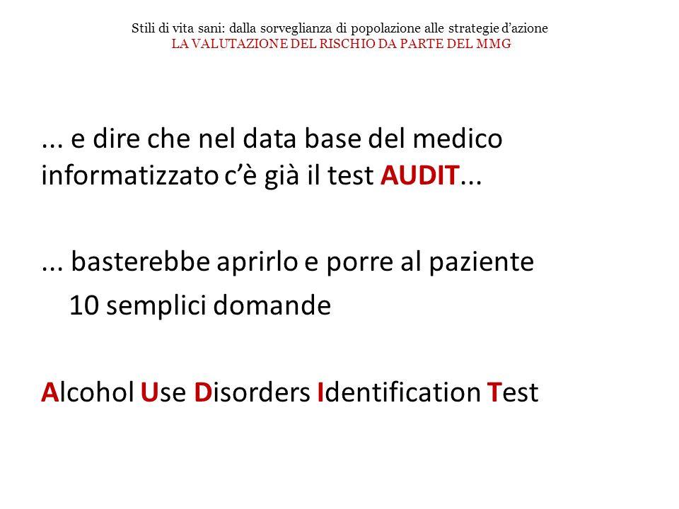 ... e dire che nel data base del medico informatizzato cè già il test AUDIT...... basterebbe aprirlo e porre al paziente 10 semplici domande Alcohol U