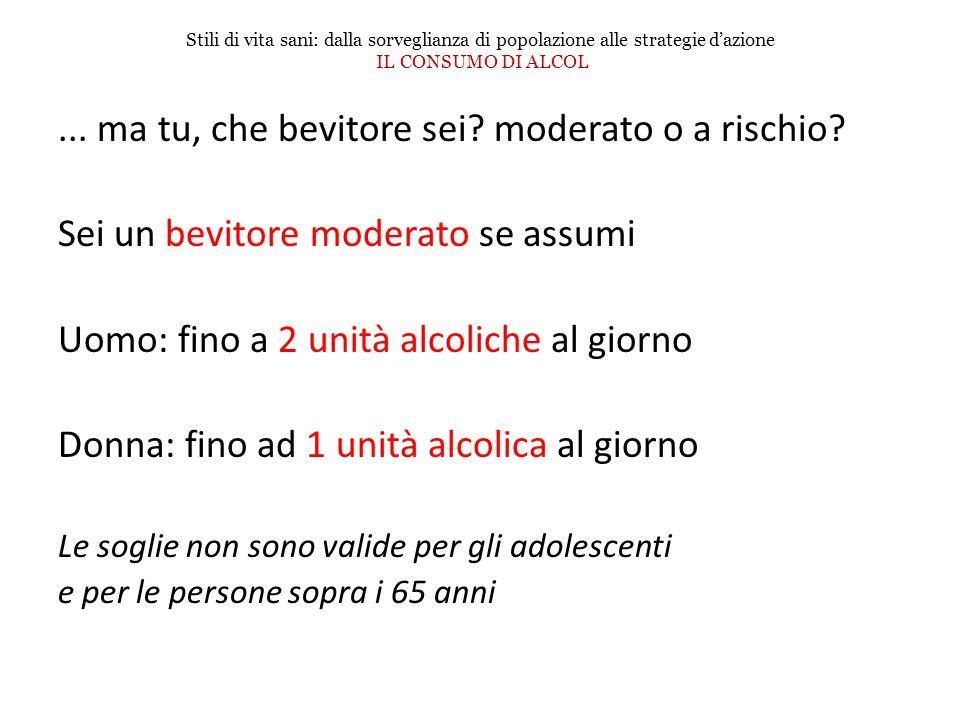 ... ma tu, che bevitore sei? moderato o a rischio? Sei un bevitore moderato se assumi Uomo: fino a 2 unità alcoliche al giorno Donna: fino ad 1 unità