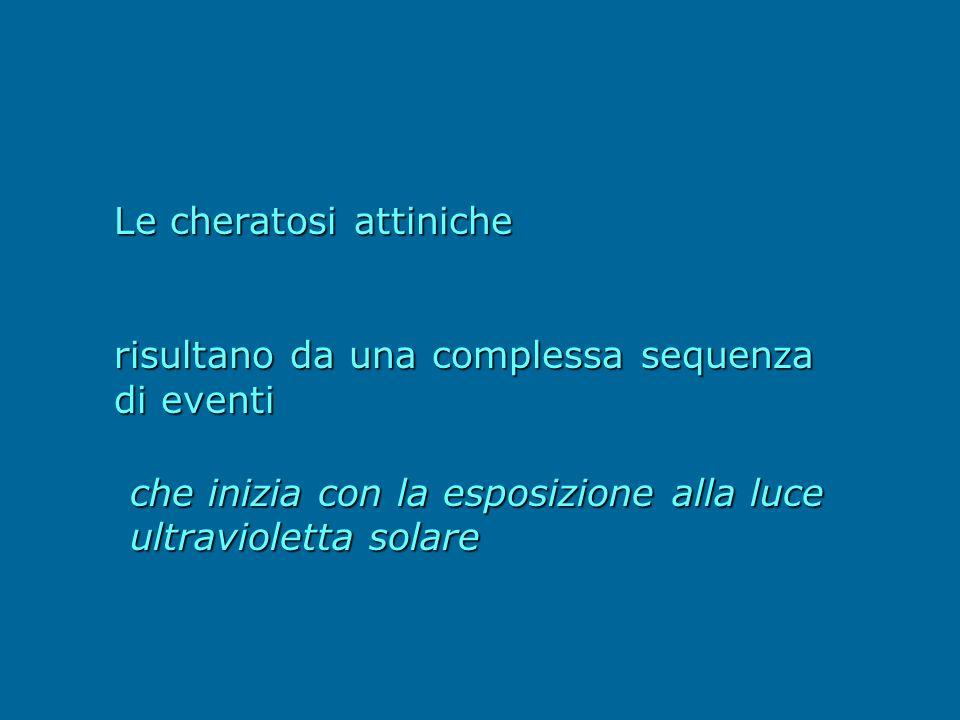 Le cheratosi attiniche risultano da una complessa sequenza di eventi che inizia con la esposizione alla luce ultravioletta solare