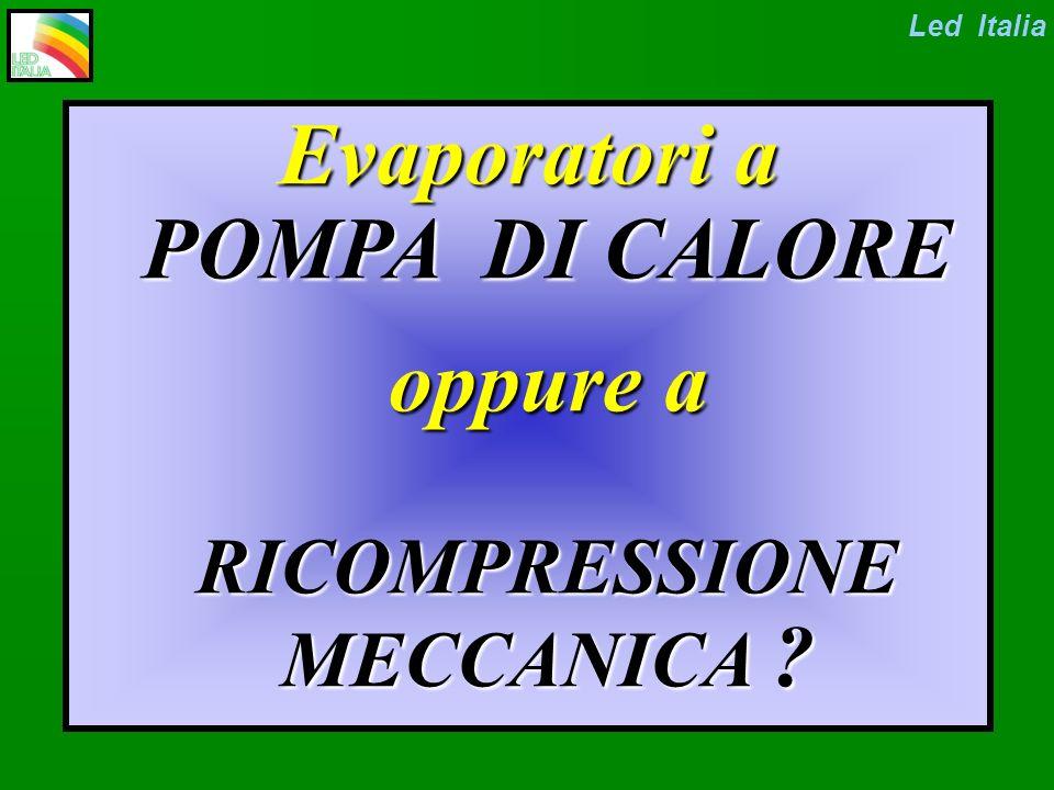 Evaporatore sottovuoto a POMPA DI CALORE Condizioni operative Temperatura: 20 / 38 °C Pressione: 2.4 / 6.6 kPa Led Italia Consumi: 100 / 200 kWh/m3 di dist.