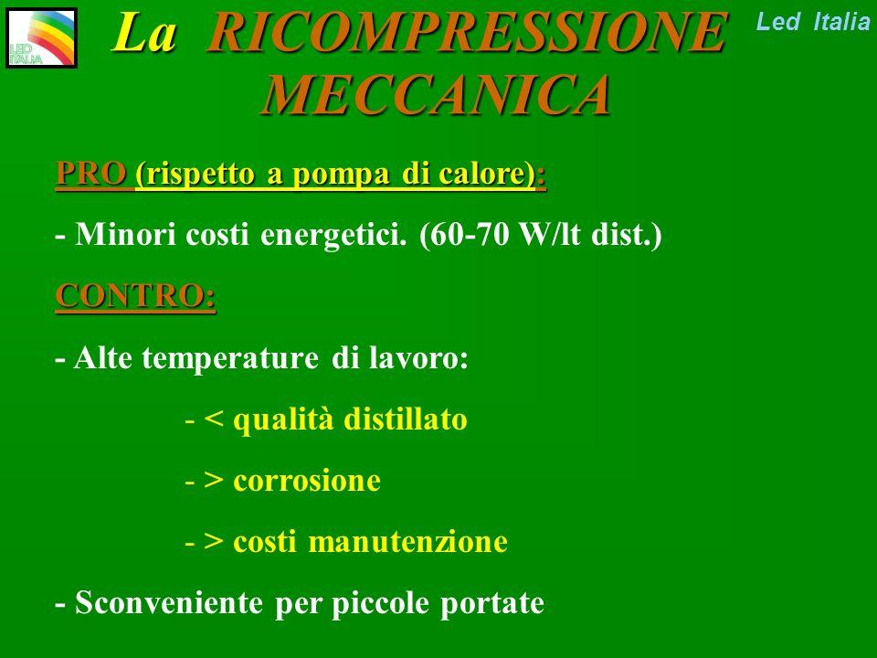 Led Italia La RICOMPRESSIONE MECCANICA Comprimo il vapore distillato, che si riscalda Comprimo il vapore distillato, che si riscalda Indirizzo il vapore caldo allo scambiatore esterno della circolazione forzata (o interno) Indirizzo il vapore caldo allo scambiatore esterno della circolazione forzata (o interno) Nello scambiatore il vapore caldo porta al riscaldamento/evaporazione della acqua reflua.