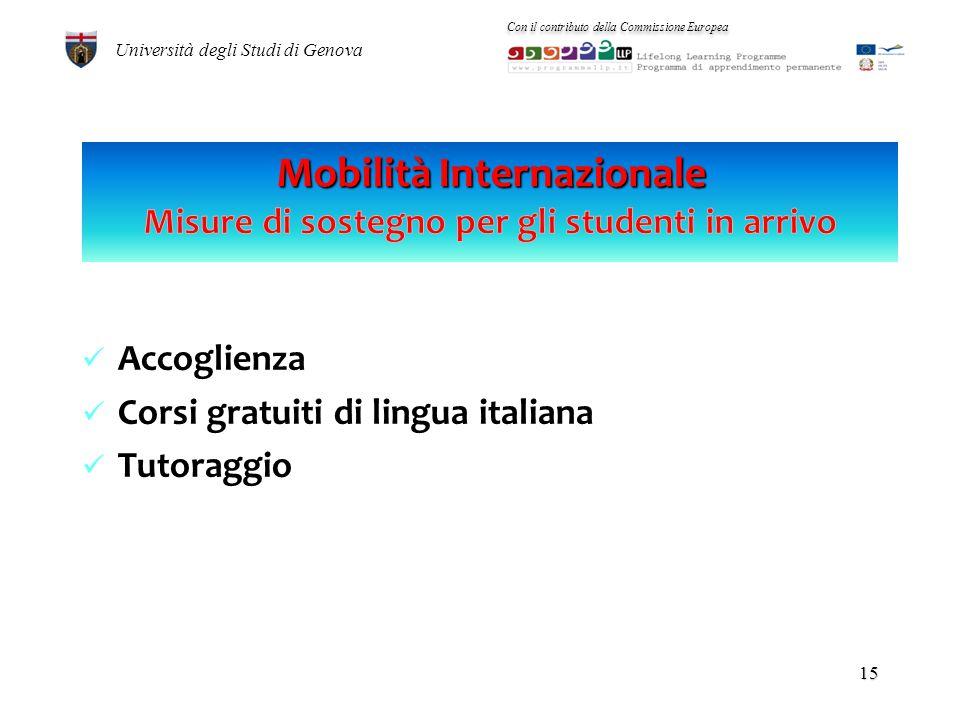 MOBILITA Erasmus IN ENTRATA – a.a. 2008/2009 totale studenti: 547 14 Università degli Studi di Genova Con il contributo della Commissione Europea