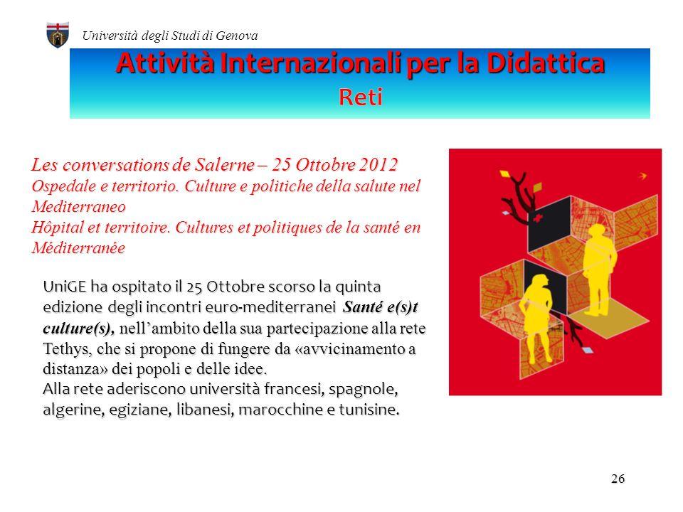 Università degli Studi di Genova 25 Italia/Francia TITOLOTITOLO RILASCIATOCOORDINATOREPARTNER Doppia laurea/Double maitrise Ref. Prof.ssa Elisa Bricco