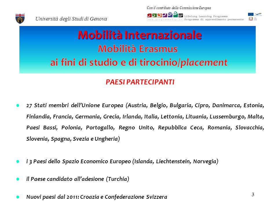 Programma LLP/Erasmus Accordi di cooperazione bilaterale Con il contributo della Commissione Europea Università degli Studi di Genova 2