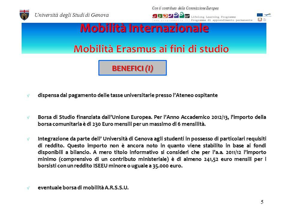 Regolare iscrizione a un corso di studi universitario dellAteneo di Genova Per lErasmus ai fini di studio, non aver mai usufruito di alcuna borsa Eras