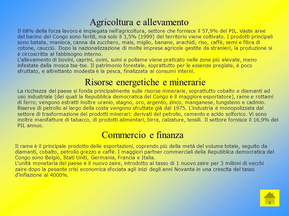 Economia Estese risorse agricole, minerarie ed energetiche fanno della Repubblica democratica del Congo uno dei paesi potenzialmente più ricchi dell'A