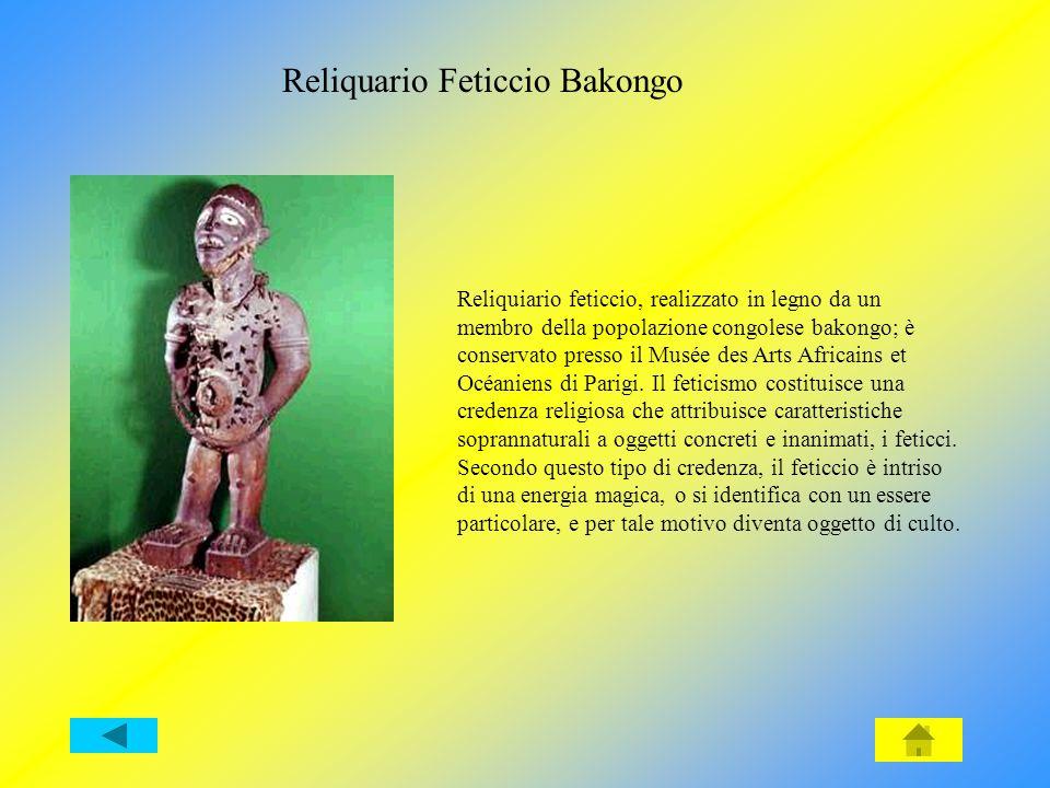 Reliquiario feticcio, realizzato in legno da un membro della popolazione congolese bakongo; è conservato presso il Musée des Arts Africains et Océaniens di Parigi.