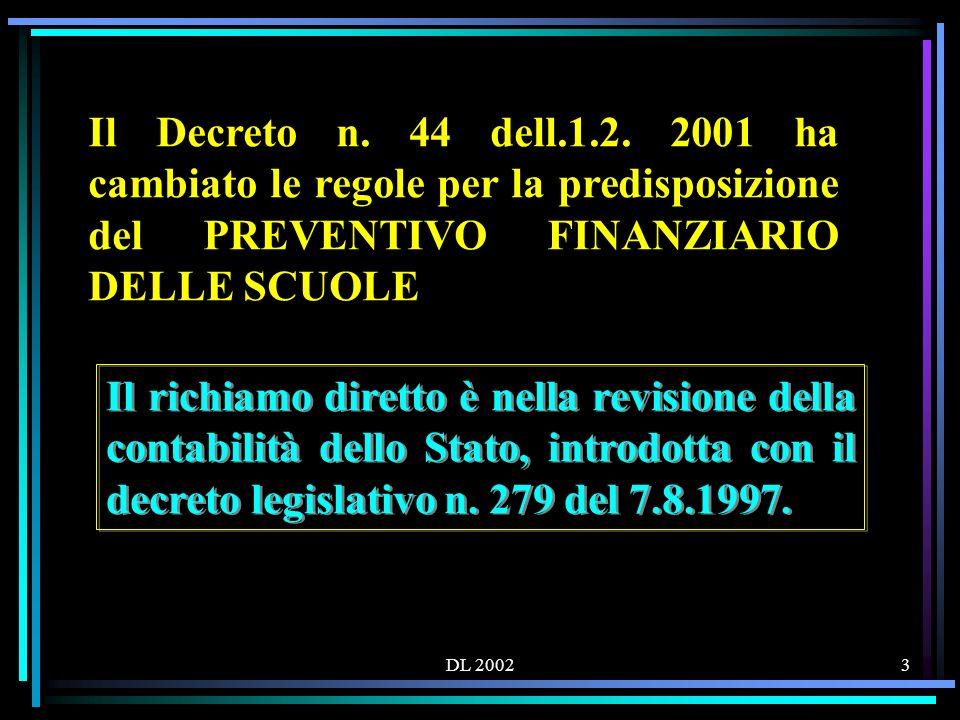 DL 200244 Le QUATTRO aggregazioni di entrata: 1.Attività 2.Progetti 3.Gestioni economiche 4.Fondo di riserva