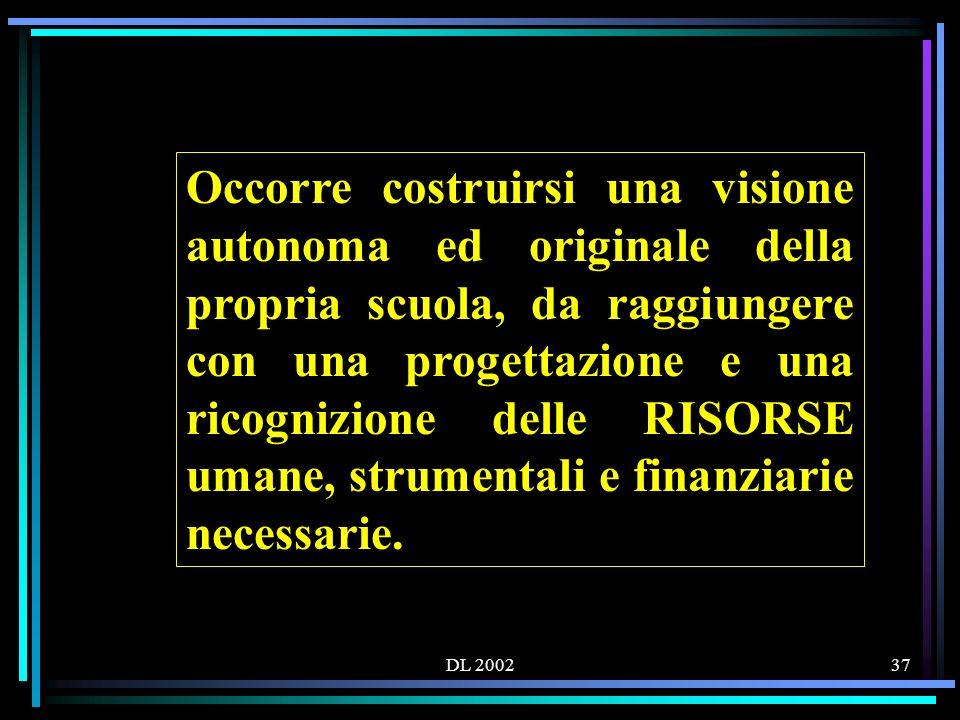 DL 200237 Occorre costruirsi una visione autonoma ed originale della propria scuola, da raggiungere con una progettazione e una ricognizione delle RISORSE umane, strumentali e finanziarie necessarie.