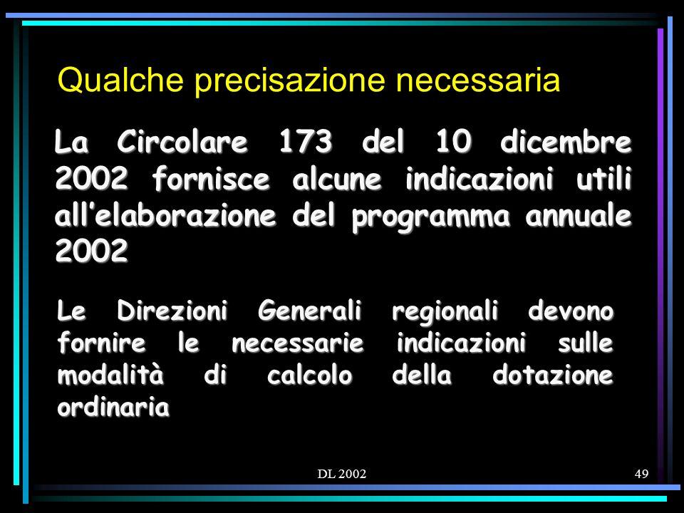 DL 200249 Qualche precisazione necessaria La Circolare 173 del 10 dicembre 2002 fornisce alcune indicazioni utili allelaborazione del programma annuale 2002 Le Direzioni Generali regionali devono fornire le necessarie indicazioni sulle modalità di calcolo della dotazione ordinaria