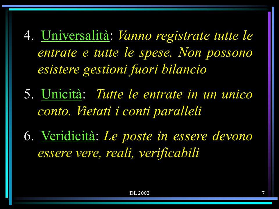 DL 20027 4. Universalità: Vanno registrate tutte le entrate e tutte le spese.