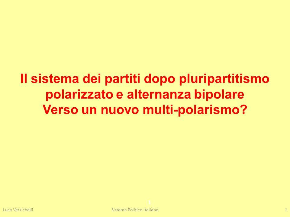 Luca VerzichelliSistema Politico italiano1 1 Il sistema dei partiti dopo pluripartitismo polarizzato e alternanza bipolare Verso un nuovo multi-polari