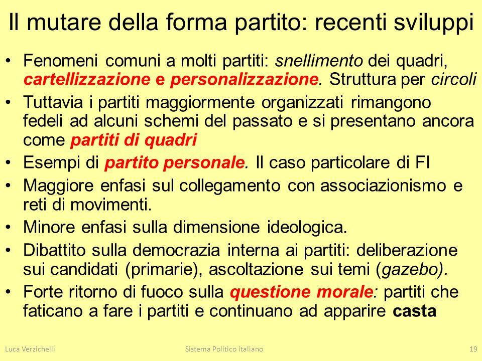 Luca VerzichelliSistema Politico italiano19 Il mutare della forma partito: recenti sviluppi Fenomeni comuni a molti partiti: snellimento dei quadri, c
