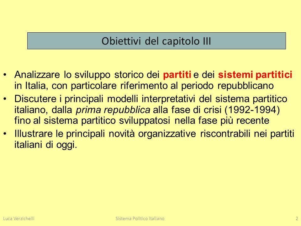 Luca VerzichelliSistema Politico italiano2 Analizzare lo sviluppo storico dei partiti e dei sistemi partitici in Italia, con particolare riferimento a