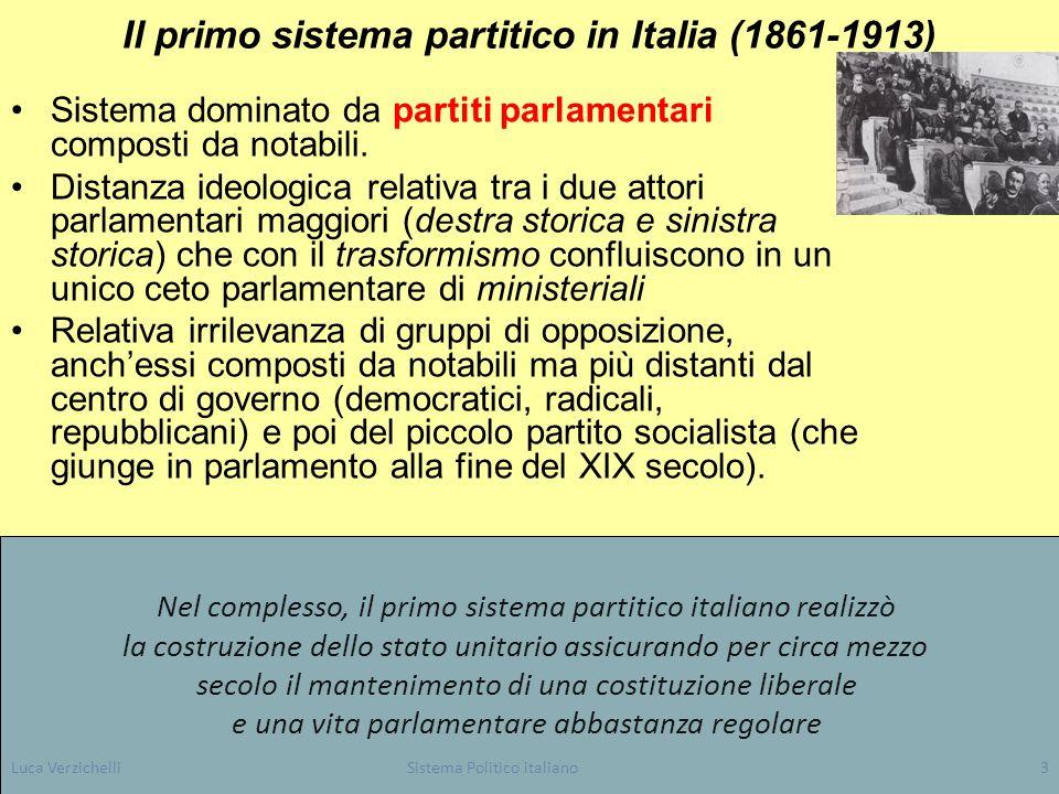 Luca VerzichelliSistema Politico italiano3 Il primo sistema partitico in Italia (1861-1913) Sistema dominato da partiti parlamentari composti da notab
