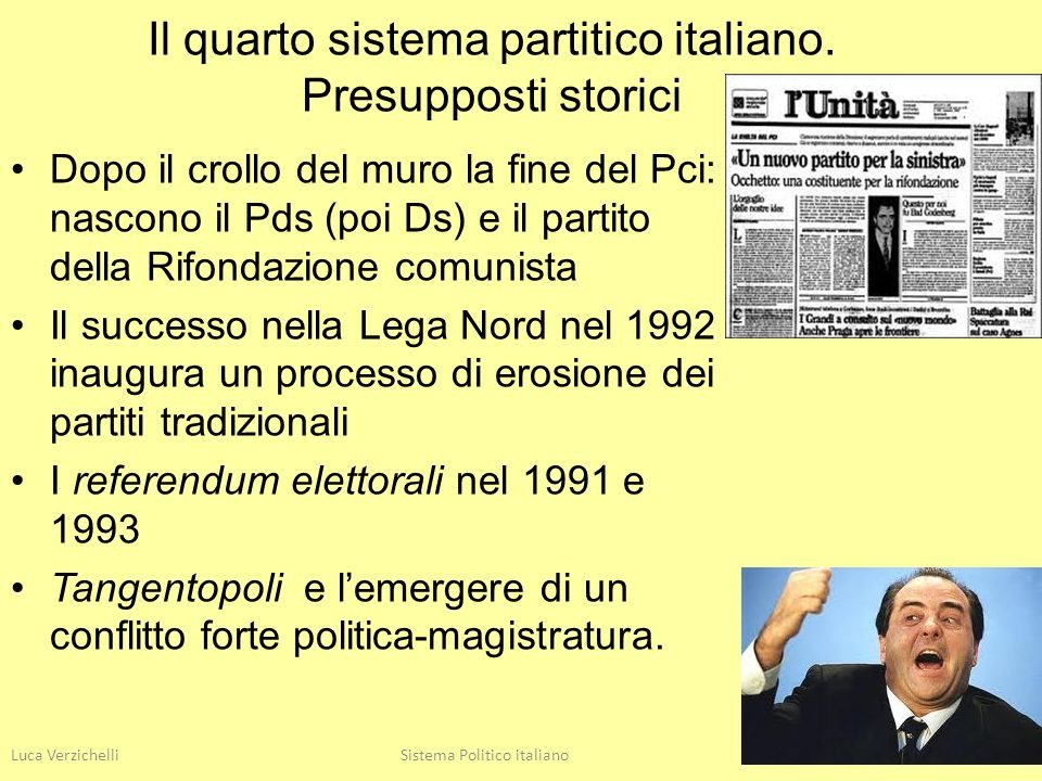 Luca VerzichelliSistema Politico italiano9 Il quarto sistema partitico italiano. Presupposti storici Dopo il crollo del muro la fine del Pci: nascono