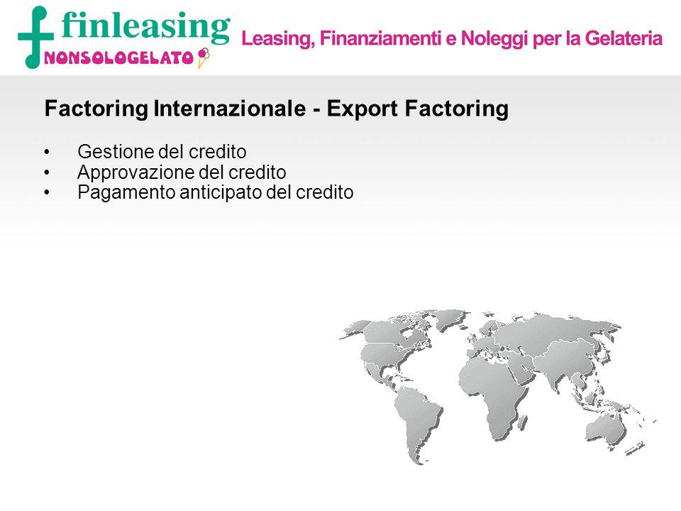 Factoring Internazionale - Export Factoring Gestione del credito Approvazione del credito Pagamento anticipato del credito