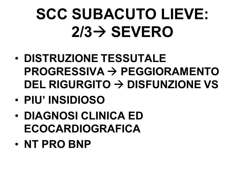 SCC SUBACUTO LIEVE: 2/3 SEVERO DISTRUZIONE TESSUTALE PROGRESSIVA PEGGIORAMENTO DEL RIGURGITO DISFUNZIONE VS PIU INSIDIOSO DIAGNOSI CLINICA ED ECOCARDI