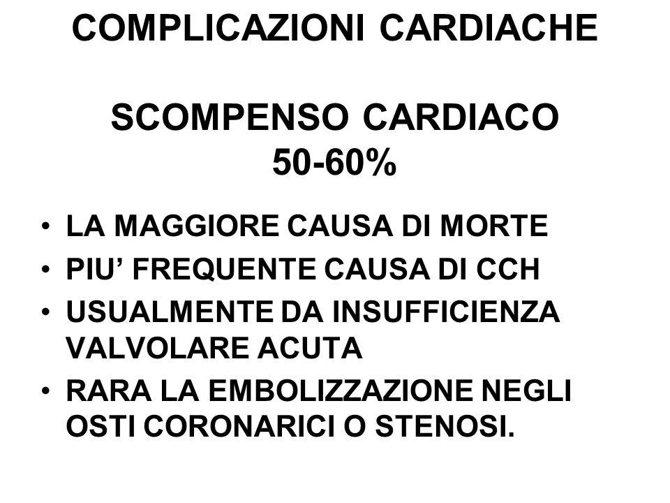 COMPLICAZIONI CARDIACHE SCOMPENSO CARDIACO 50-60% LA MAGGIORE CAUSA DI MORTE PIU FREQUENTE CAUSA DI CCH USUALMENTE DA INSUFFICIENZA VALVOLARE ACUTA RA