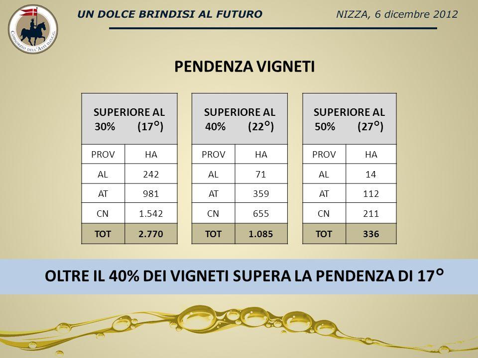 SUPERIORE AL 30% (17°) SUPERIORE AL 40% (22°) SUPERIORE AL 50% (27°) PROVHAPROVHAPROVHA AL242AL71AL14 AT981AT359AT112 CN1.542CN655CN211 TOT2.770TOT1.085TOT336 PENDENZA VIGNETI OLTRE IL 40% DEI VIGNETI SUPERA LA PENDENZA DI 17°