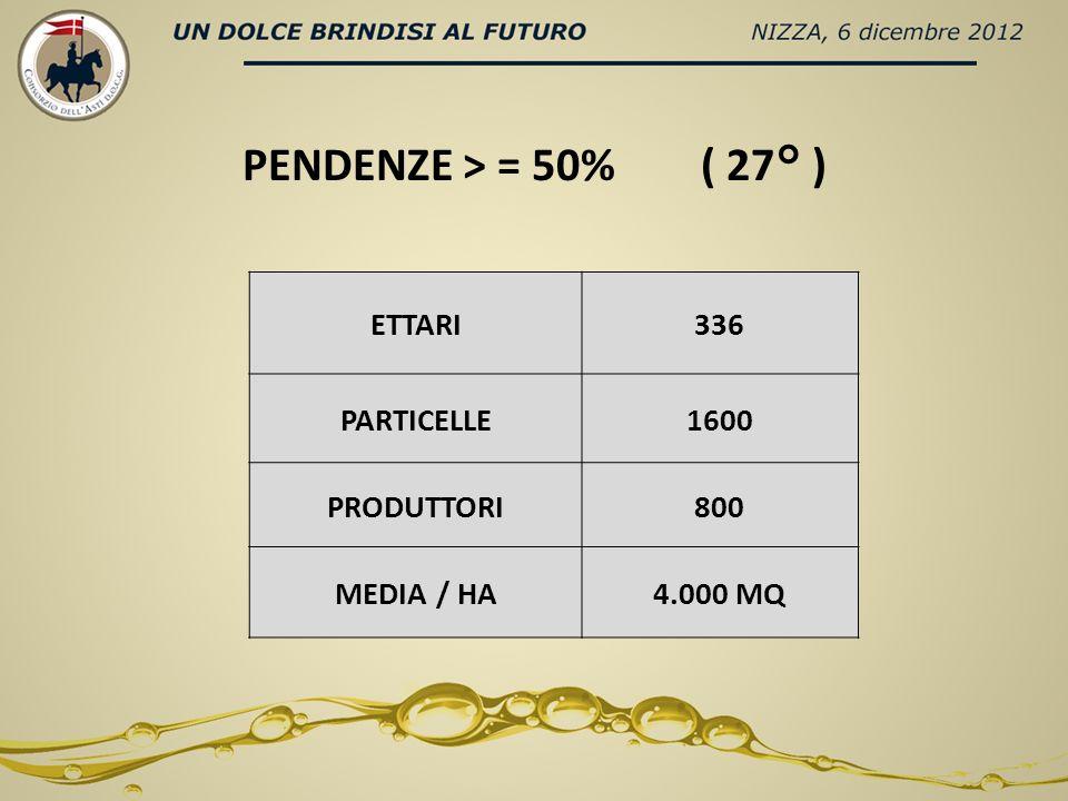 ETTARI336 PARTICELLE1600 PRODUTTORI800 MEDIA / HA4.000 MQ PENDENZE > = 50% ( 27° )