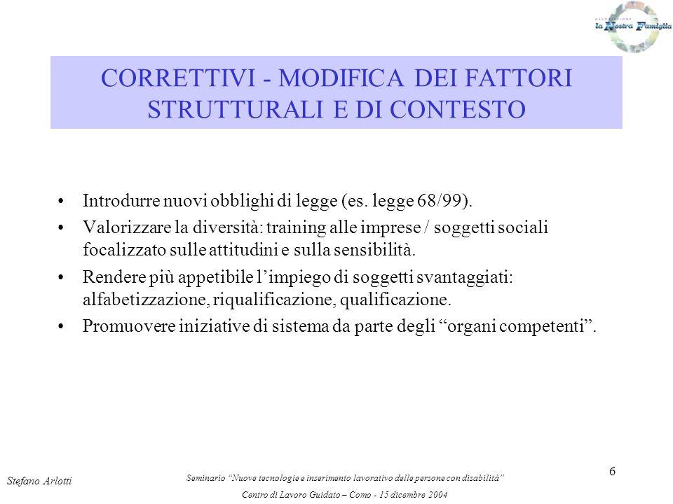 6 Introdurre nuovi obblighi di legge (es. legge 68/99).