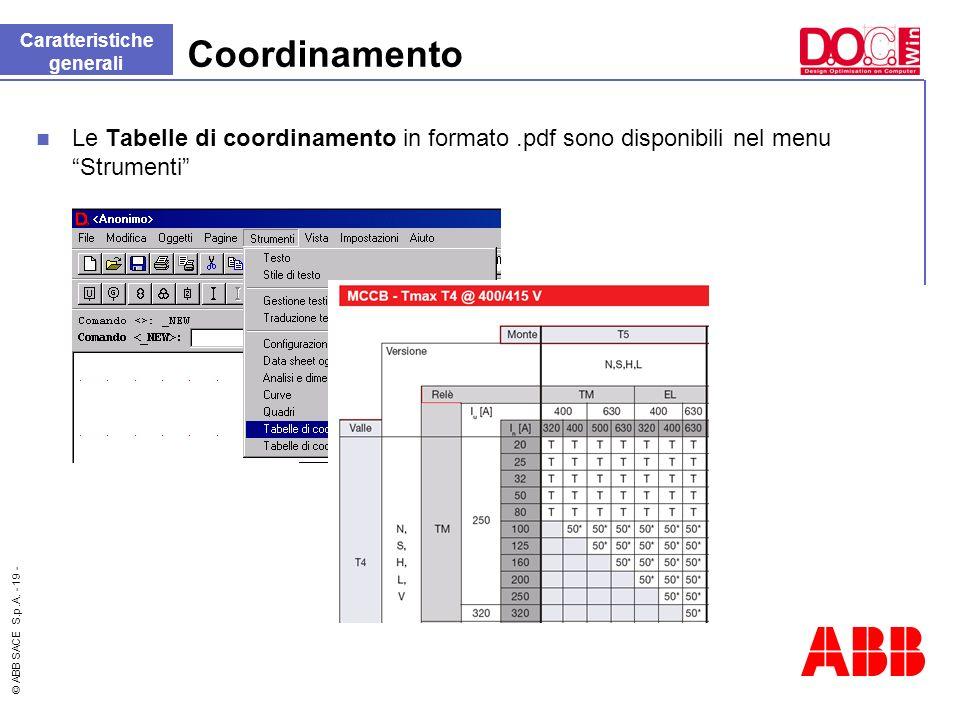 © ABB SACE S.p.A. - 19 - Coordinamento Le Tabelle di coordinamento in formato.pdf sono disponibili nel menu Strumenti Caratteristiche generali