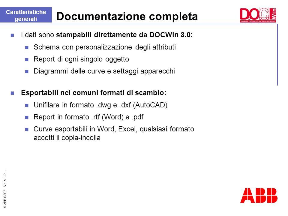 © ABB SACE S.p.A. - 21 - Documentazione completa I dati sono stampabili direttamente da DOCWin 3.0: Schema con personalizzazione degli attributi Repor