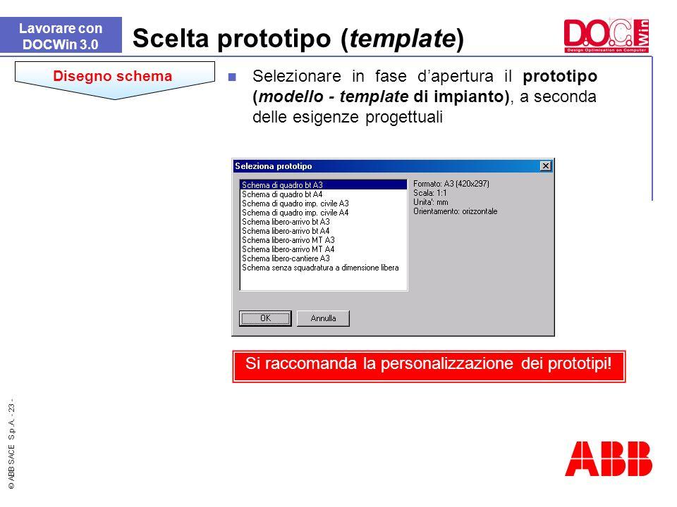 © ABB SACE S.p.A. - 23 - Scelta prototipo (template) Selezionare in fase dapertura il prototipo (modello - template di impianto), a seconda delle esig