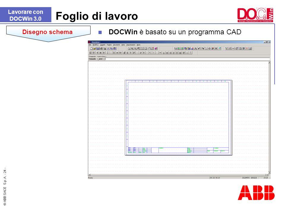 © ABB SACE S.p.A. - 24 - DOCWin è basato su un programma CAD Foglio di lavoro Lavorare con DOCWin 3.0 Disegno schema