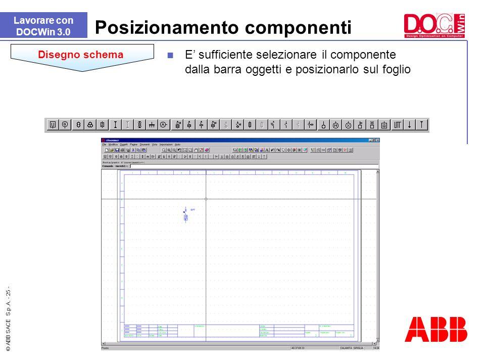 © ABB SACE S.p.A. - 25 - Posizionamento componenti Lavorare con DOCWin 3.0 Disegno schema E sufficiente selezionare il componente dalla barra oggetti