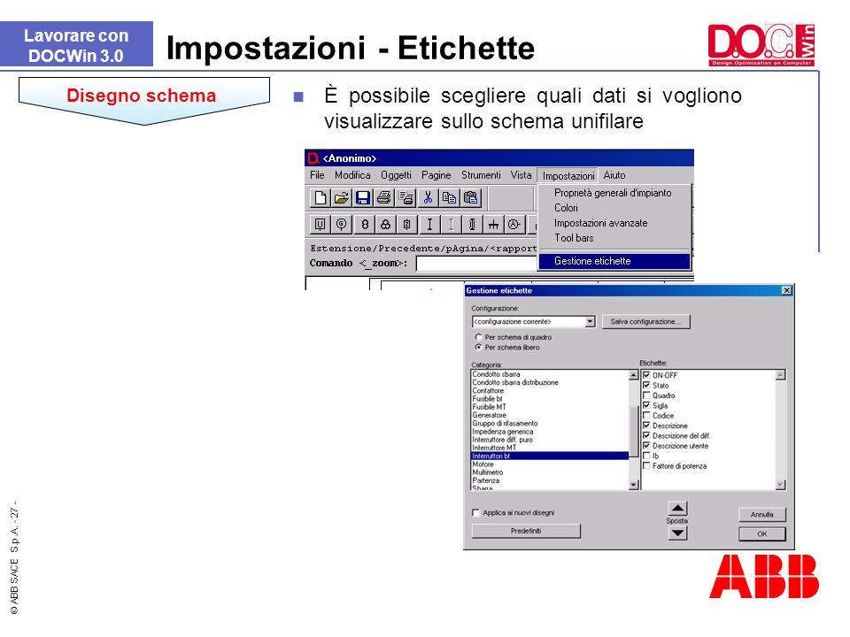 © ABB SACE S.p.A. - 27 - Impostazioni - Etichette Lavorare con DOCWin 3.0 Disegno schema È possibile scegliere quali dati si vogliono visualizzare sul