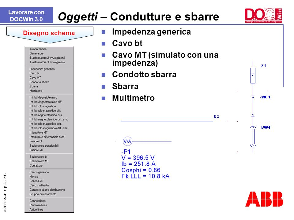 © ABB SACE S.p.A. - 29 - Lavorare con DOCWin 3.0 Oggetti – Condutture e sbarre Disegno schema Impedenza generica Cavo bt Cavo MT (simulato con una imp