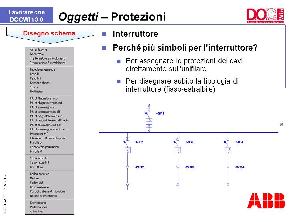 © ABB SACE S.p.A. - 30 - Lavorare con DOCWin 3.0 Oggetti – Protezioni Disegno schema Interruttore Perché più simboli per linterruttore? Per assegnare