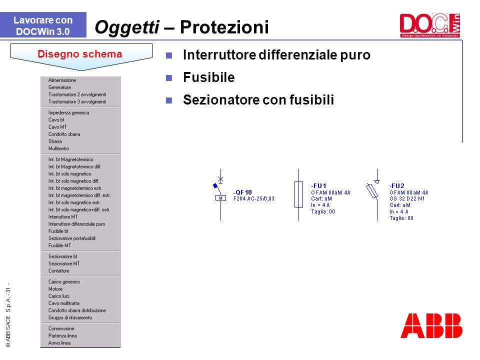 © ABB SACE S.p.A. - 31 - Interruttore differenziale puro Fusibile Sezionatore con fusibili Lavorare con DOCWin 3.0 Oggetti – Protezioni Disegno schema