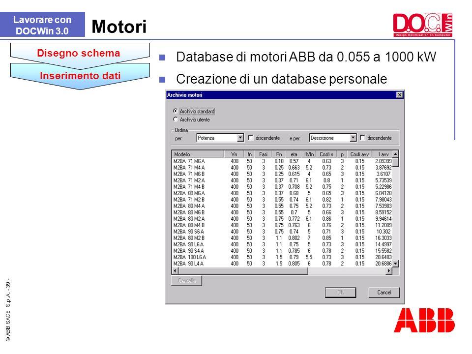 © ABB SACE S.p.A. - 39 - Lavorare con DOCWin 3.0 Motori Database di motori ABB da 0.055 a 1000 kW Creazione di un database personale Inserimento dati