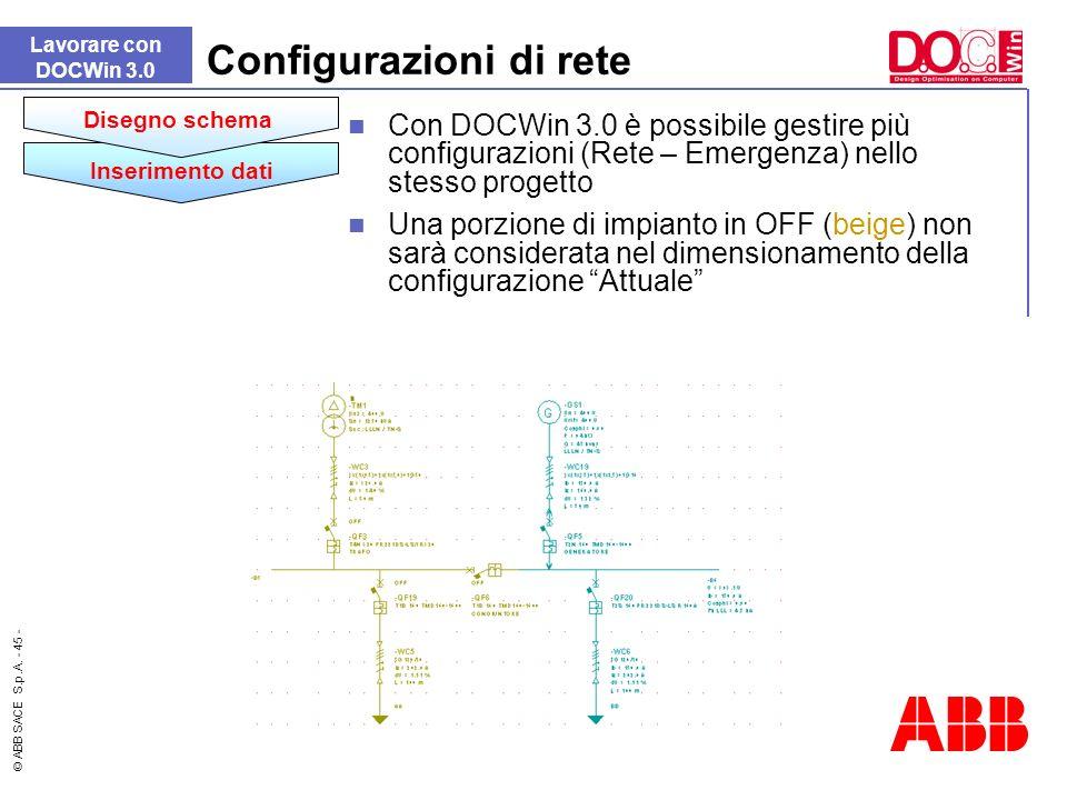 © ABB SACE S.p.A. - 45 - Lavorare con DOCWin 3.0 Configurazioni di rete Inserimento dati Disegno schema Con DOCWin 3.0 è possibile gestire più configu